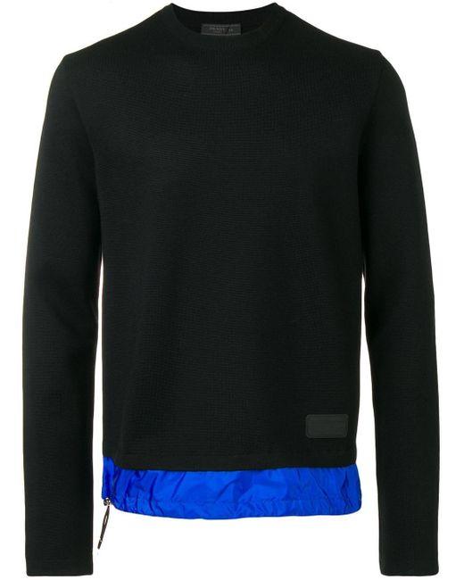 Prada Gebreide Sweater Met Contrasterende Zoom in het Black voor heren