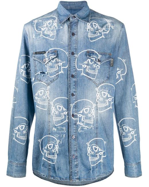 Camicia denim con stampa di Philipp Plein in Blue da Uomo