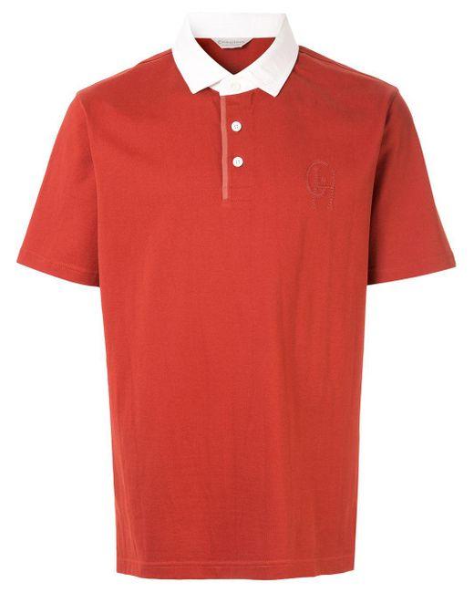 メンズ Gieves & Hawkes コントラストカラー ポロシャツ Red