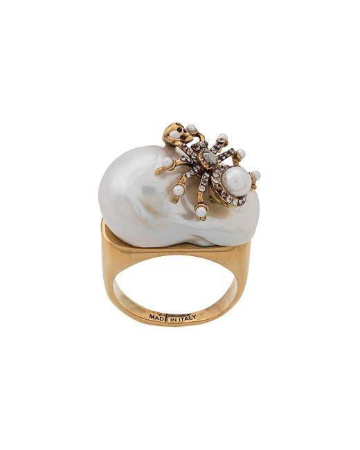 Alexander McQueen Metallic Skull And Spider Embellished Ring