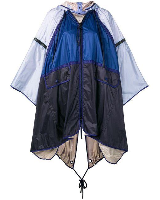 Moncler フーデッド ケープ Blue