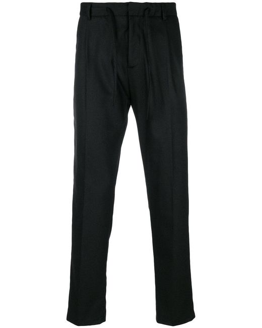 Paolo Pecora   Black Drawstring Pleated Trousers for Men   Lyst
