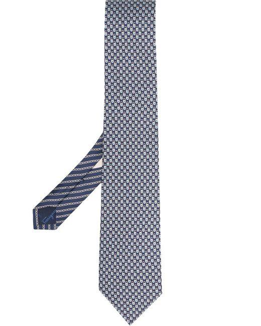 Cravate à imprimé all-over Ferragamo pour homme en coloris Blue