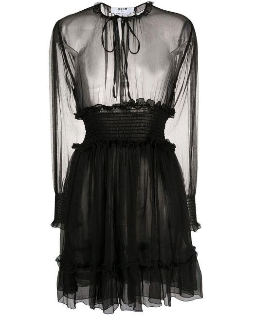 MSGM シアードレス Black