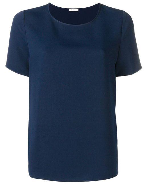 P.A.R.O.S.H. Camsieta holgada con cuello redondo de mujer de color azul HiQvX
