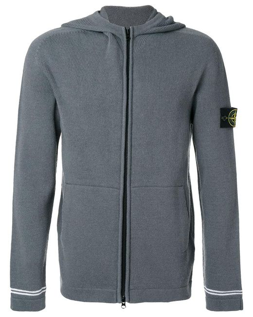Stone Island   Gray Knitted Hoodie for Men   Lyst