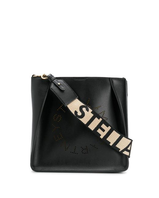 Stella McCartney Black Perforated Logo Shoulder Bag
