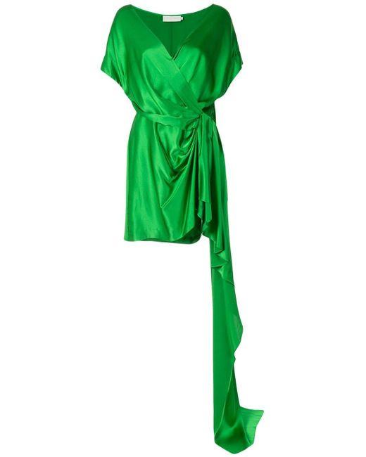 Michelle Mason シルク ラップドレス Green