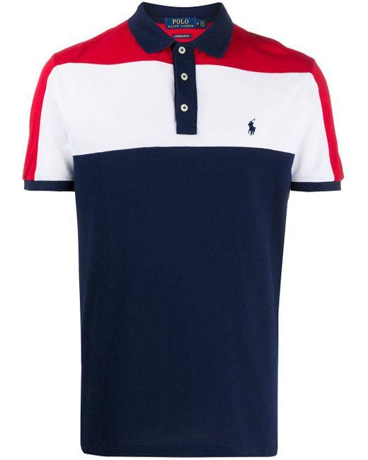 メンズ Polo Ralph Lauren カラーブロック ポロシャツ Blue