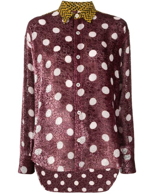 Chemise à pois Golden Goose Deluxe Brand en coloris Pink