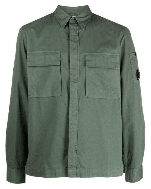 メンズ C P Company チェストポケット シャツ Green