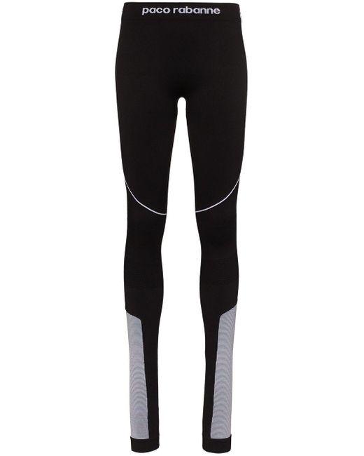 Paco Rabanne Black Logo Detail Panelled Sports Leggings