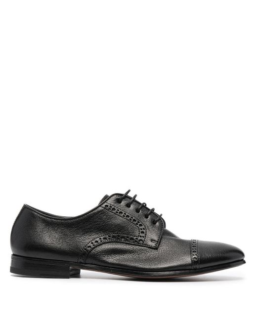Henderson Black Perforated-detail Derby Shoes for men