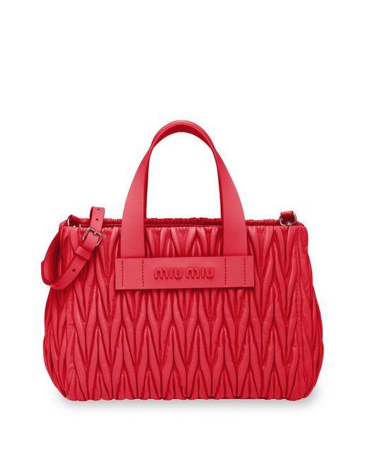 Miu Miu Red Handtasche aus Matelassé-Leder