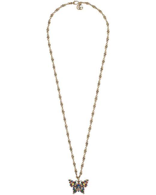 Gucci Halskette mit Kristall-Schmetterling in Metallic für Herren