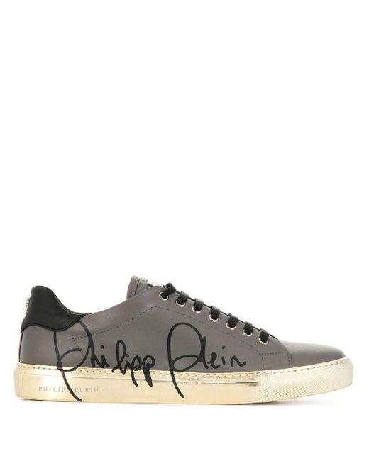 Philipp Plein Gray Low-top Signature Sneakers for men