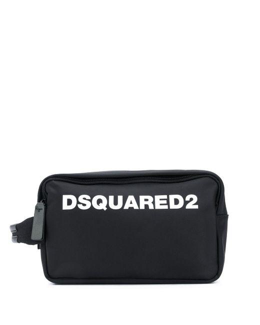 メンズ DSquared² ロゴ トラベルポーチ Black