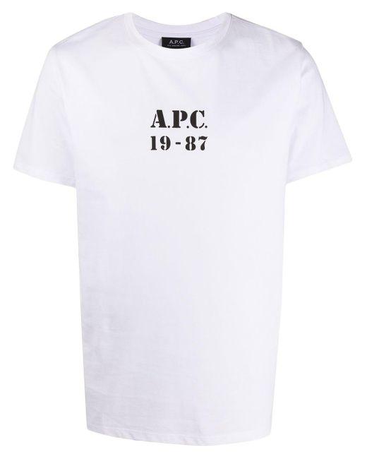 メンズ A.P.C. Georges ロゴ Tシャツ White