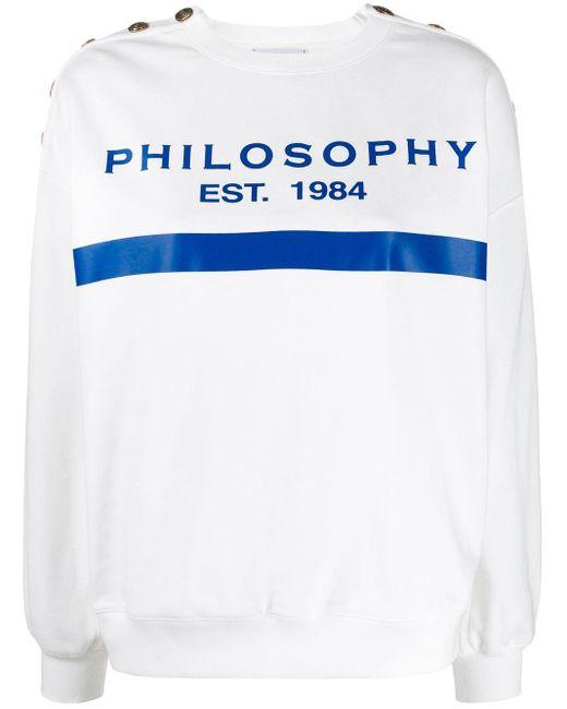 Philosophy Di Lorenzo Serafini Sudadera con detalles de botones y logo de mujer de color blanco fVfLt