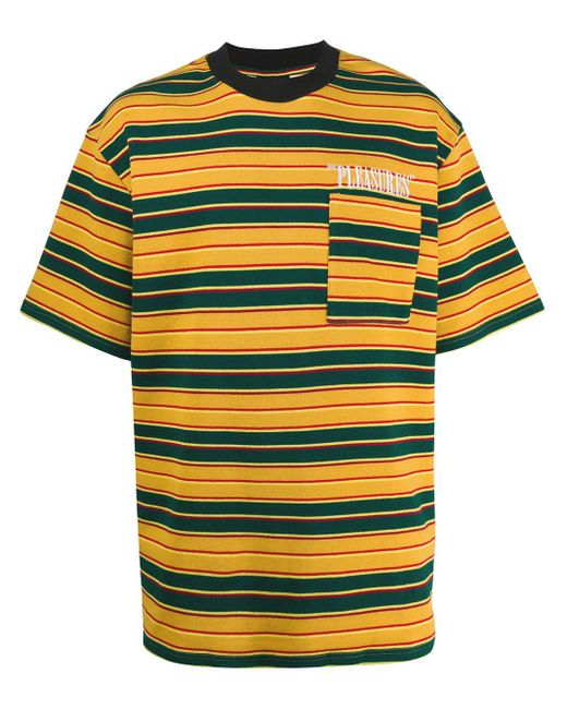 メンズ Pleasures ストライプ Tシャツ Yellow
