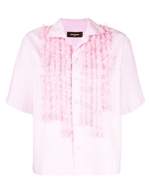DSquared² - Pink Ruffle-trimmed Shirt - Lyst