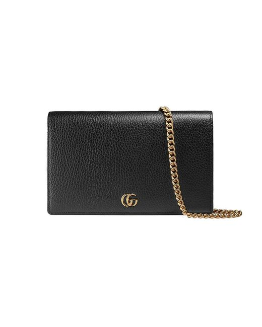 Gucci Black GG Marmont Leather Mini Chain Bag
