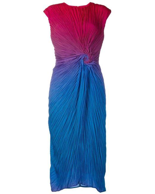 Sies Marjan Degrade Plissé Midi Dress Blue