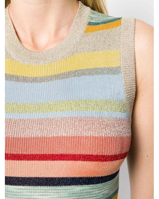 Top metalizado a rayas de punto Missoni de color Blue