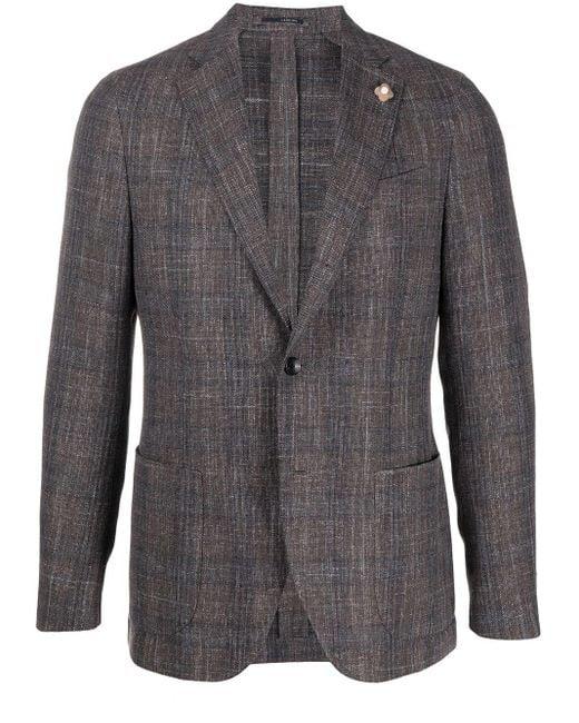 メンズ Lardini チェック シングルジャケット Gray