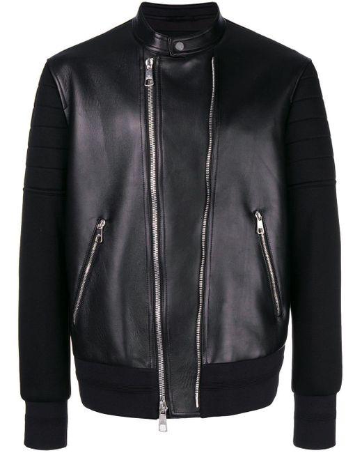 メンズ Neil Barrett Jersey Sleeve Bomber Jacket Black