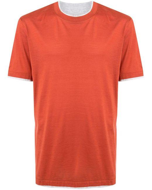メンズ Brunello Cucinelli レイヤード Tシャツ Orange