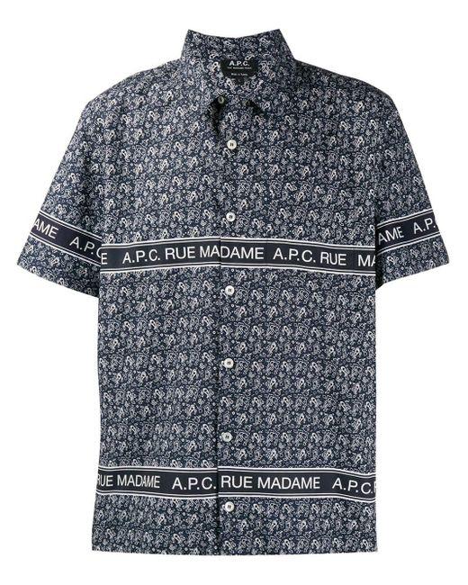 メンズ A.P.C. ネイビー ポプリン ペイズリー シャツ Blue
