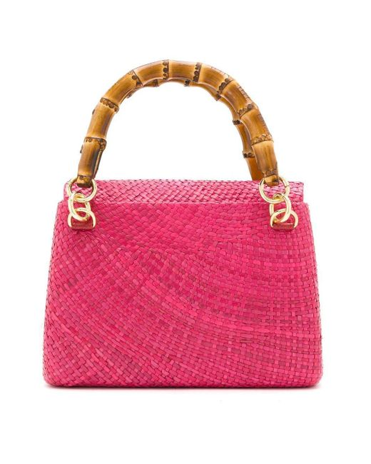 Serpui Pink Raffia Tote Bag