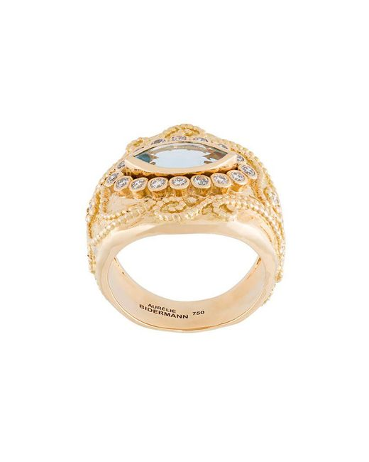 Aurelie Bidermann - Metallic 'cashmere' Aquamarine And Diamond Ring - Lyst