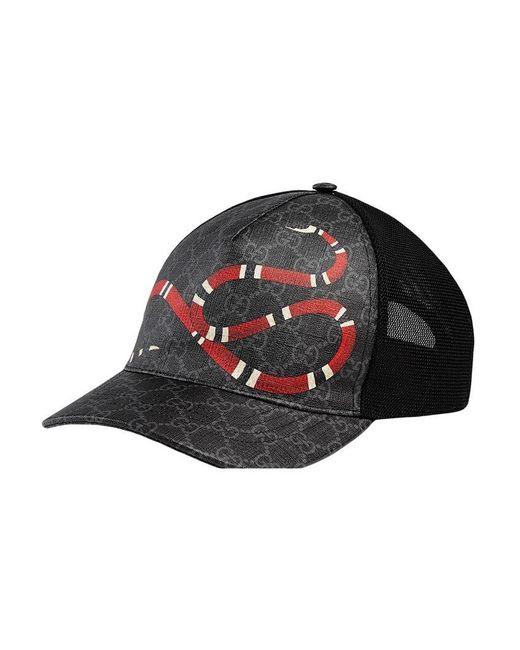 f299d433a12 Gucci Kingsnake Print GG Supreme Baseball Hat in Black for Men - Lyst