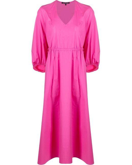 Luisa Cerano Vネック ドレス Pink