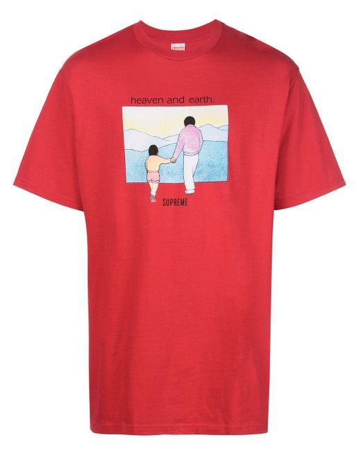 メンズ Supreme Heaven And Earth Tシャツ Red
