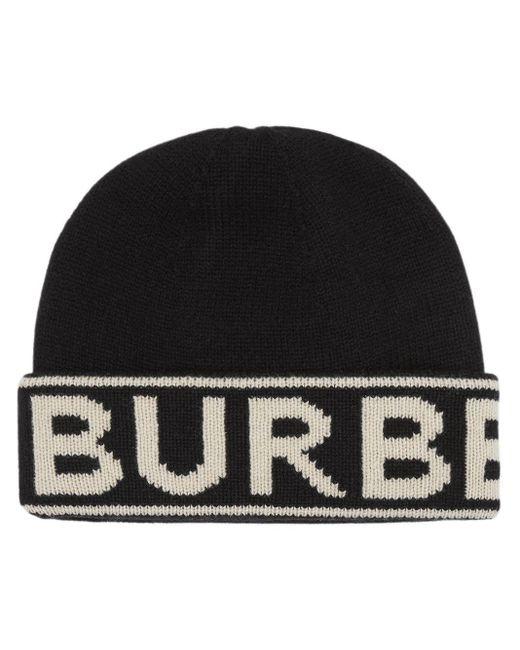 Burberry カシミアニット帽 Black