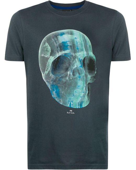 メンズ PS by Paul Smith スカルプリント Tシャツ Blue