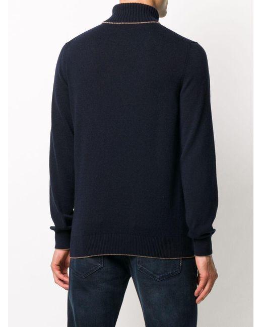 メンズ Eleventy カシミア タートルネックセーター Blue