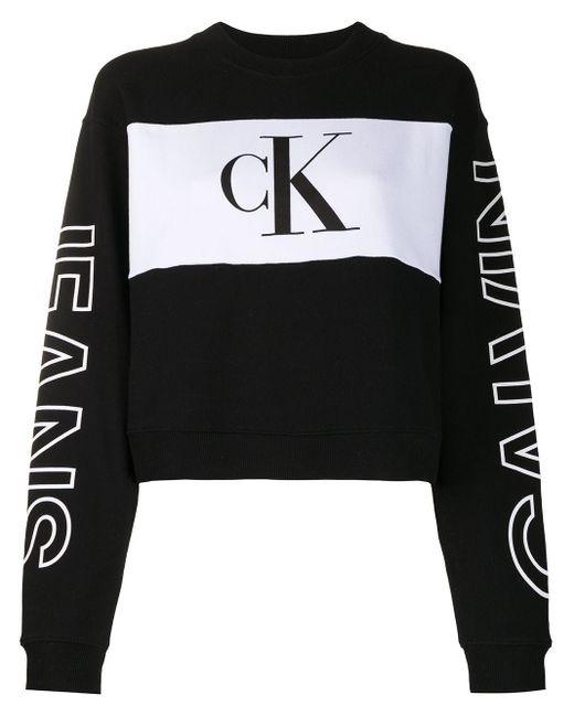 Calvin Klein カラーブロック スウェットシャツ Black