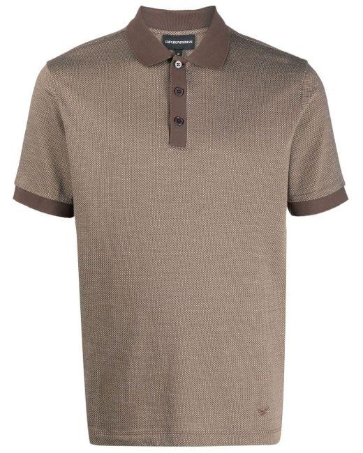 メンズ Emporio Armani コントラストカラー ポロシャツ Brown