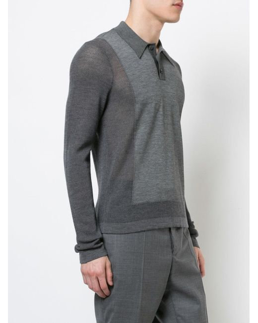 ced3790f9d27 ... Maison Margiela - Gray Long Sleeve Knitted Polo Top for Men - Lyst ...