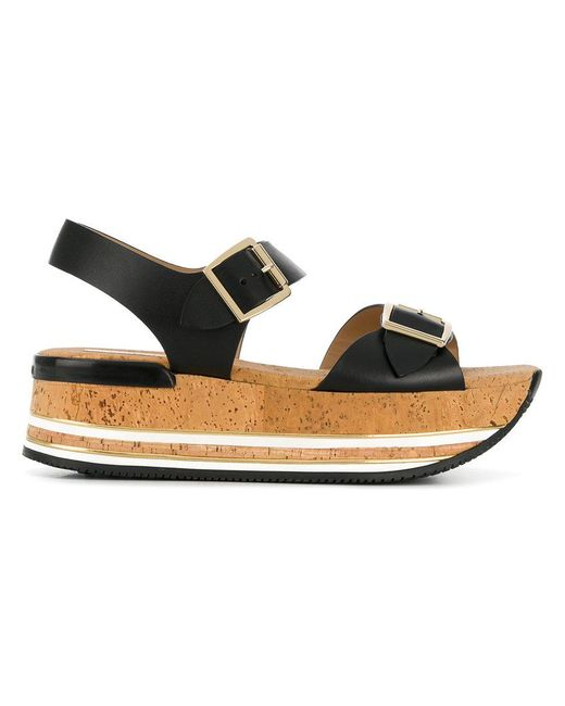 5794d70c06f Hogan - Black Platform Buckle Sandals - Lyst ...