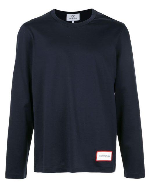 メンズ Calvin Klein ロゴ ロングスリーブ トップ Blue