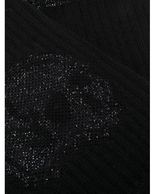 メンズ Alexander McQueen グリッタースカル靴下 Black
