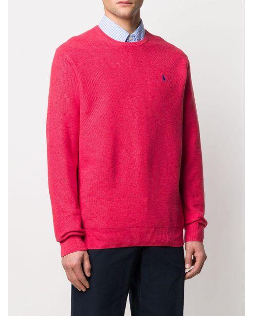 メンズ Polo Ralph Lauren ロゴ セーター Pink
