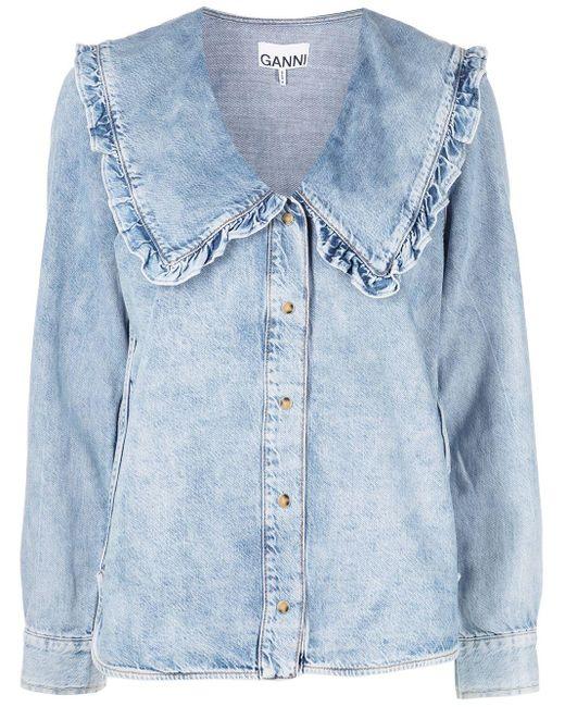 Ganni ラッフルカラー デニムシャツ Blue