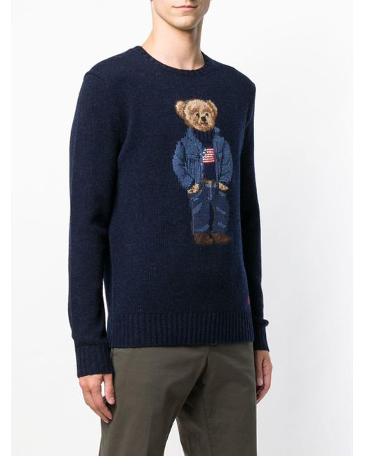 Blue For Ralph Lauren Save Knitted Polo Jumper Teddy Bear In Men ONnP0wk8X