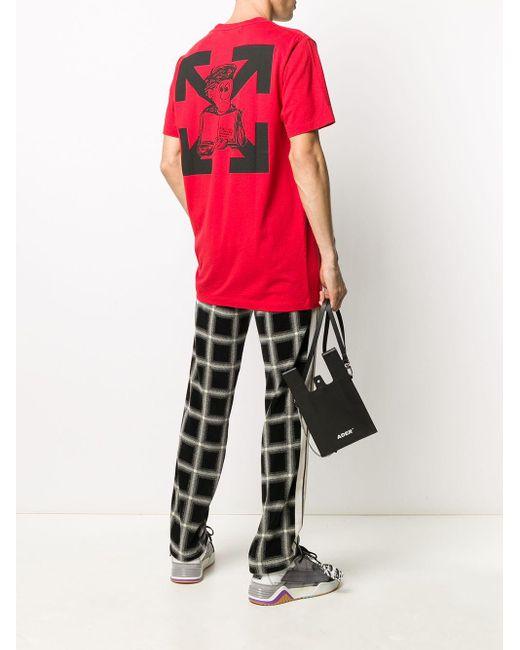 メンズ Off-White c/o Virgil Abloh Diag Pencil Arch Tシャツ Red